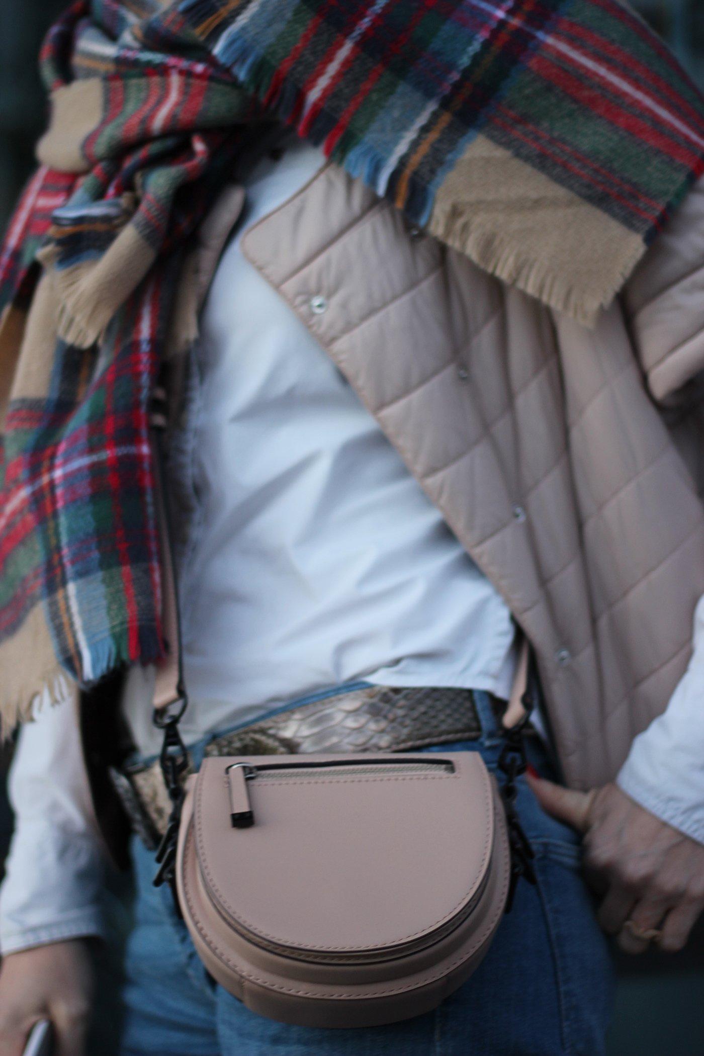 kleine Rebecca Minkoff-Tasche und Details vom Outfits