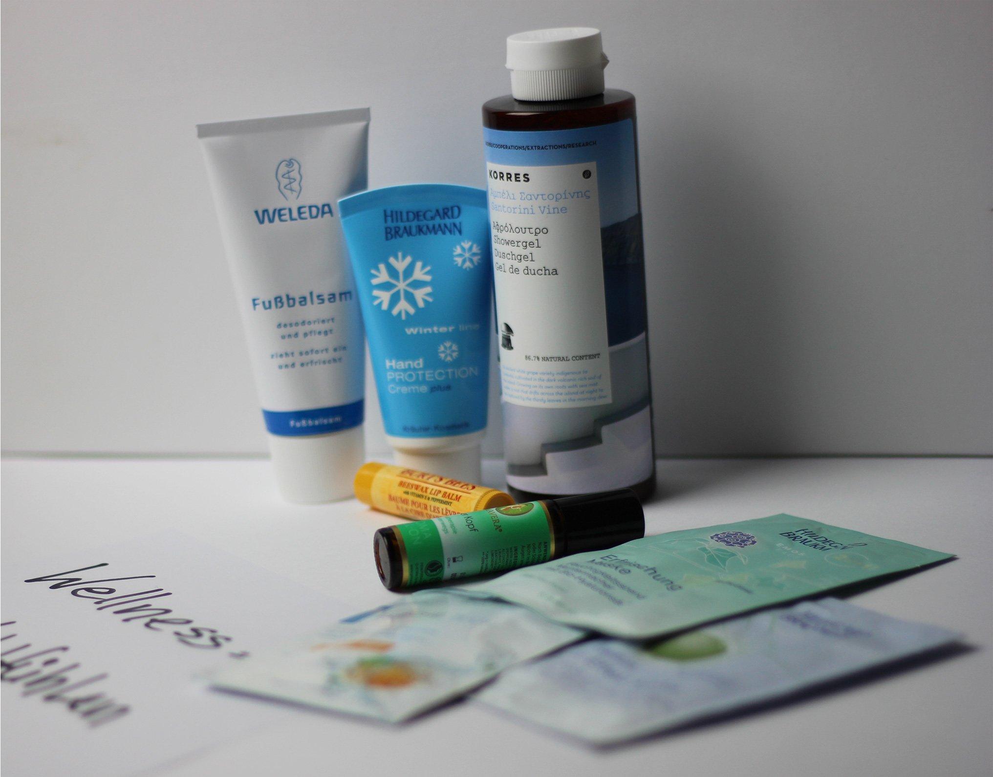 Wellnesspaket - Produkte Duschgel, Fußbalsam, Gesichtsmaske, Lippenpflege, Handcreme, Erfrischungstücher