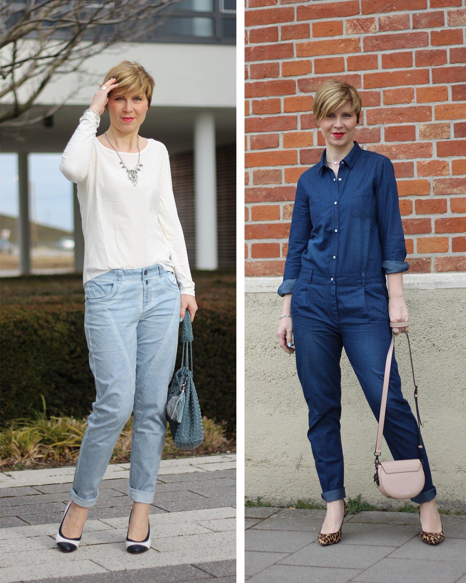Collage: Tchibo Frühlingskollektion Helene Fischer, Jeans-Jumpsuit, Chino, hellblau, weißes Shirt