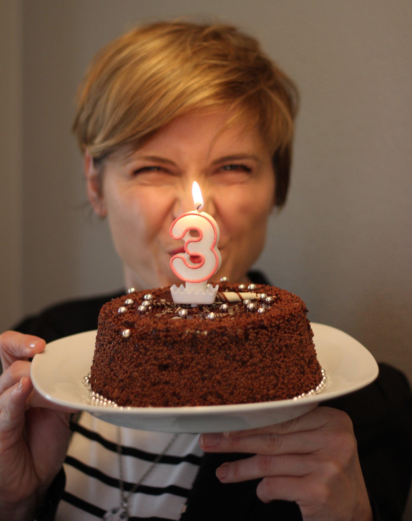 Bloggeburtstag, Kuchen, Kerze, Drei, Conny Doll