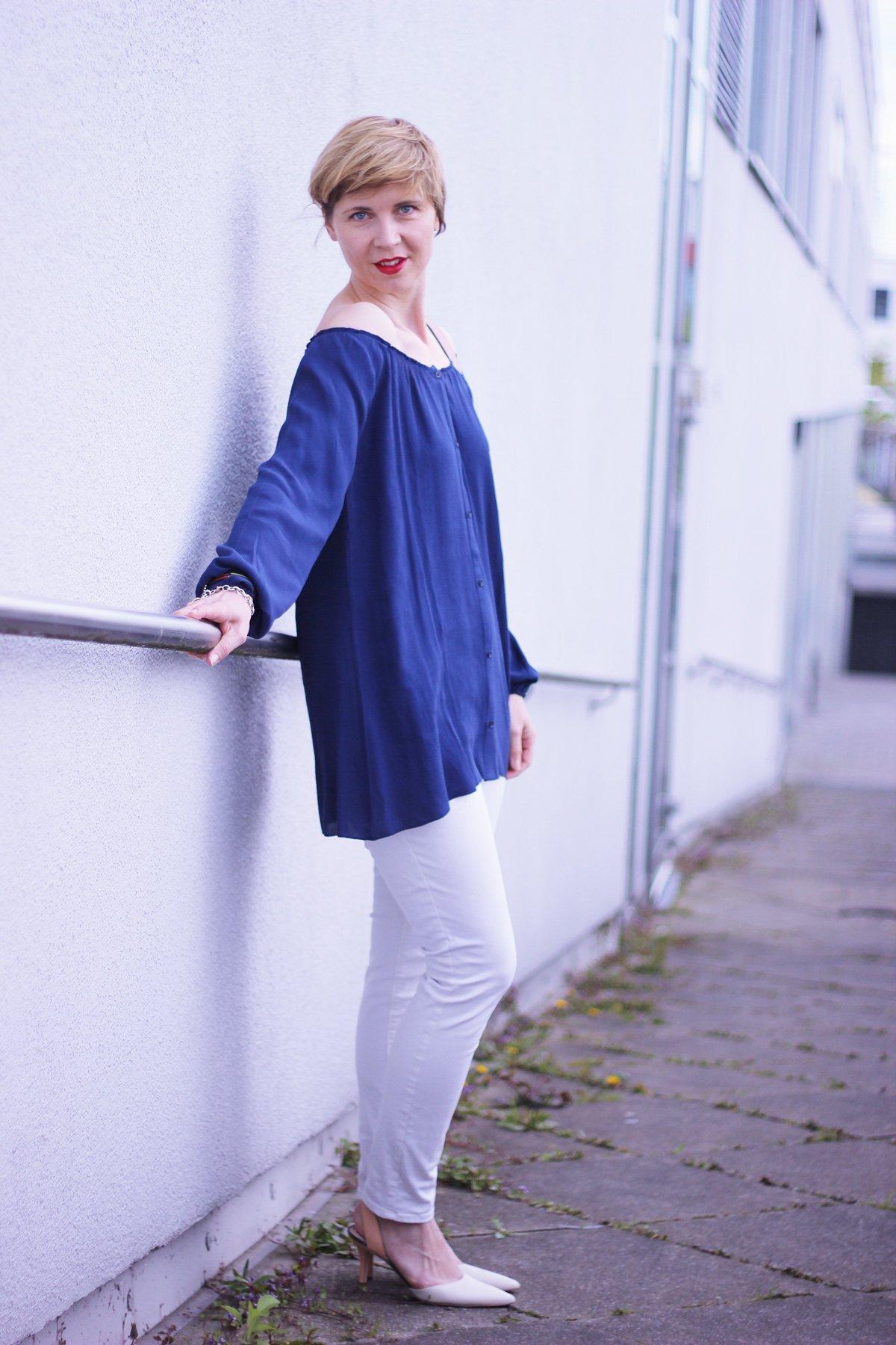 Off-Shoulder-Bluse, American Vintage, blau, Bluse, weiß, old navy, Sam Edelman, Rebecca Minkoff, Conny Doll