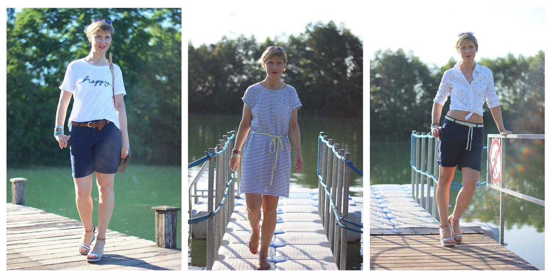 Collage, Streifenkleid, Short, Bluse, Styling, T-Shirt, Happy, Badesee, See, maritim, Styling, Blau, weiß