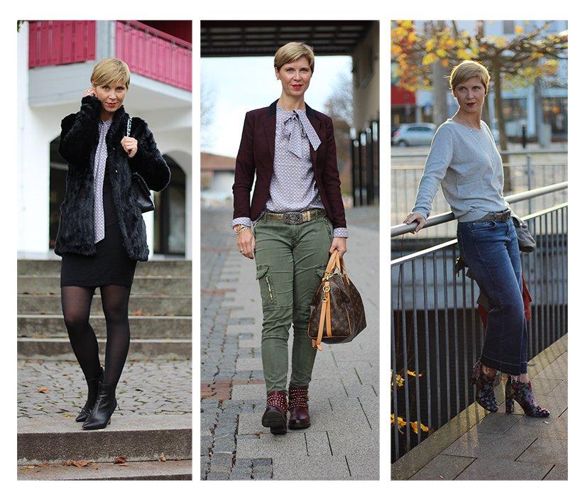 lässige Eleganz, Tchibo, Schluppenbluse, Strickpullover, casual, elegant, Conny Doll, Cargohose, cropped Jeans, Strickkleid