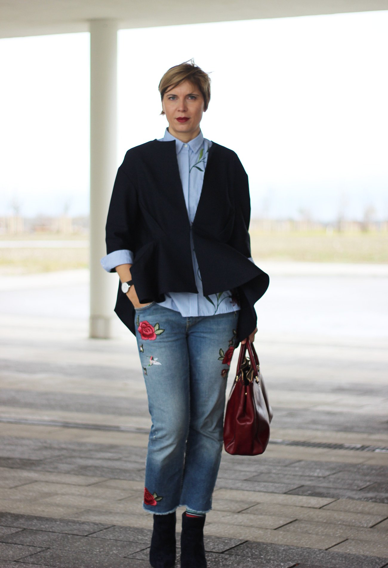 Bluse und Blazer, Kragen, Jeans, bestickt, Michael Kors, Stiefeletten, Conny Doll