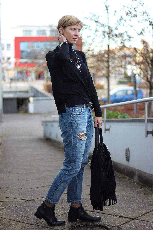 Destroyed Denim, Jeans, Rollkragen, Netzstrumpfhose, casual, lässig, Conny Doll