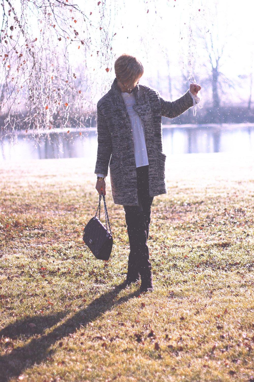 Cardigan, Overknees zur Fakelederhose, Strick, Jugendstilbluse