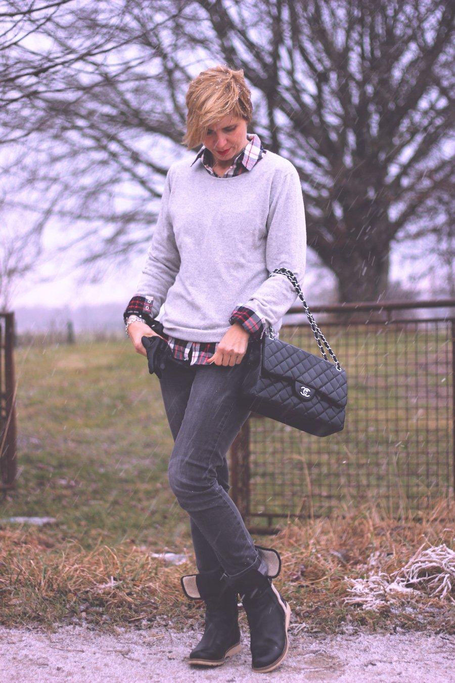 grau in grau, roter Mantel, Karobluse, Hemd, Pullover, Winterlook, graue Jeans, Chanel Flapbag, Schnee