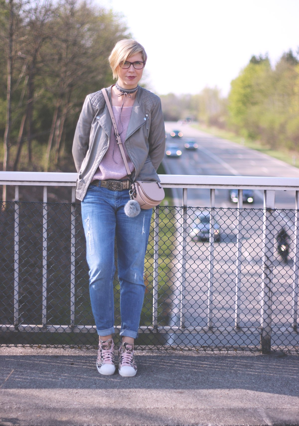 schulterfreien Pullover, rose, casual, conny doll, abends, tagsüber, Münchenblogger,