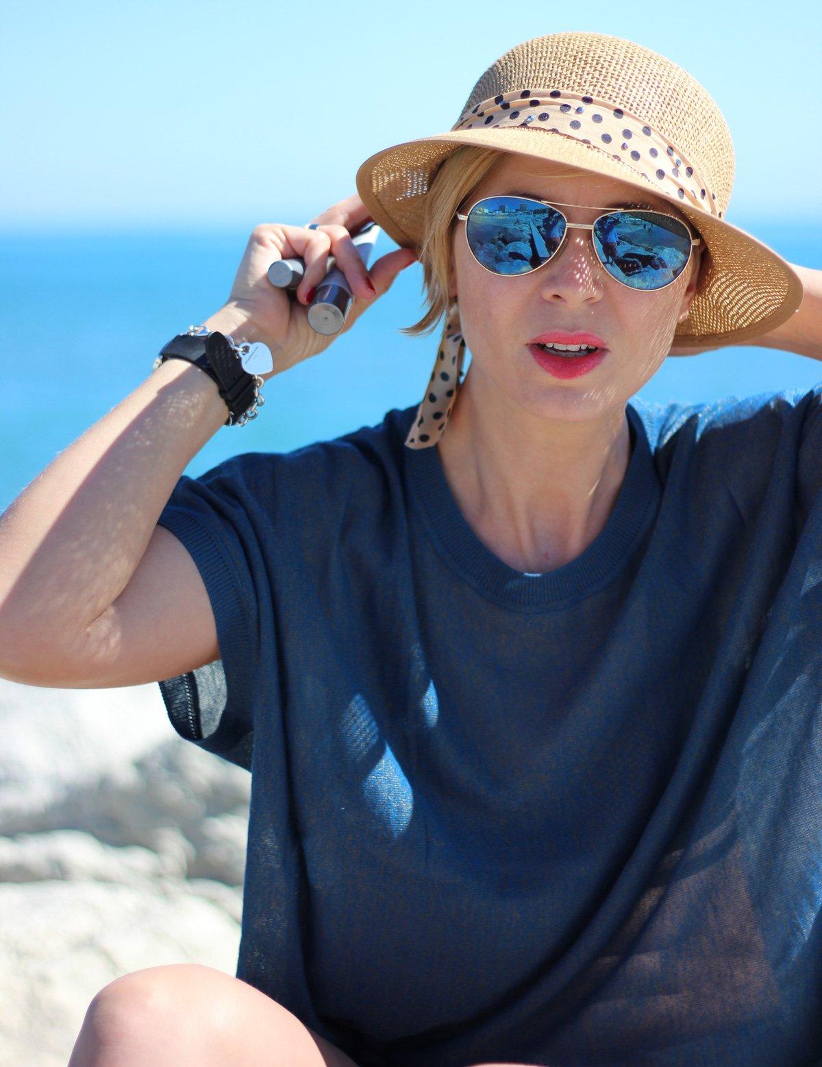 Sonnenschutz fürs Gesicht, Conny Doll, Sonnenhut, Blau, Meer
