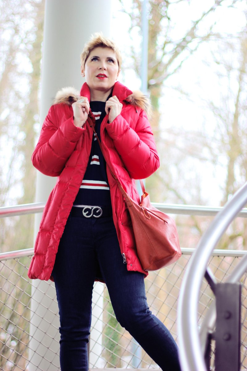 Conny Doll Lifestyle: casual Office-Look, Blazer, Blau allover, Blazer, Streifen, Ärmel, Daunenmantel