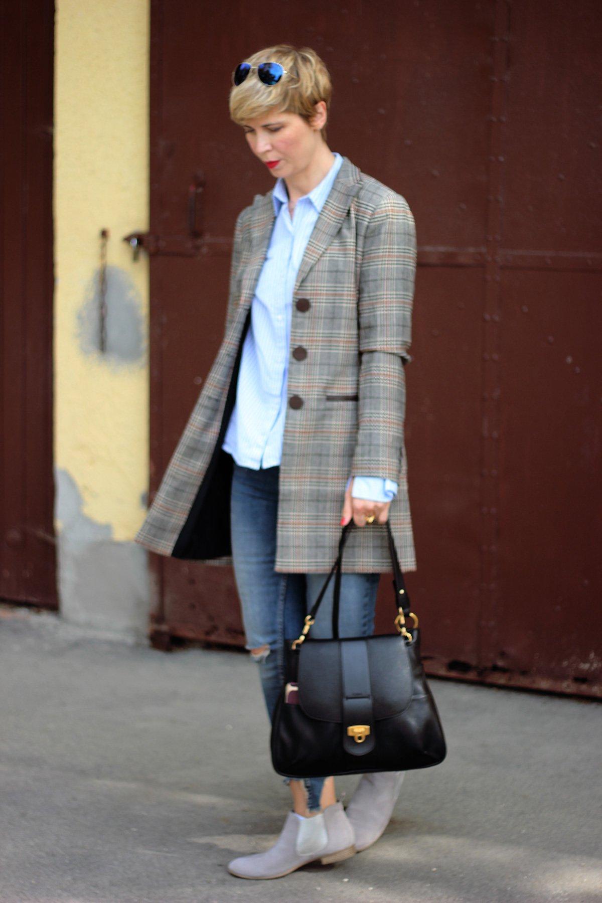 conny doll lifestyle: Shopping für Modemuffel - Karoblazer und Streifenhemd, casual, mustermix