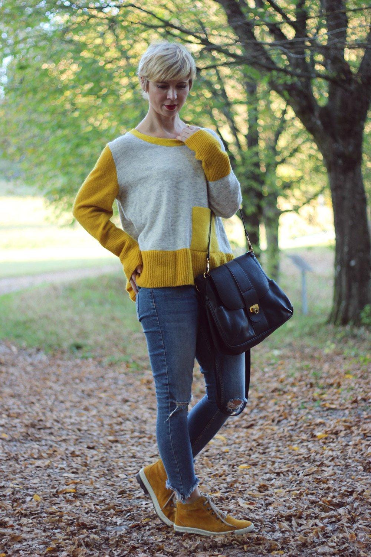 conny doll -lifestyle: Ist der Händedruck aus der Mode? Mein Herbst ist ein Strickpulli in senfgelb, Cos, Lederjacke, destroyed, herbstlook 2018