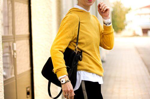 conny doll lifestyle: Bürostyling zum Afterworklook, goldene Details, Culotte Galonstreifen, Herbstlook, Kapuzenpullover, Stylingideen, Outfitinspiration mit Toni Fashion