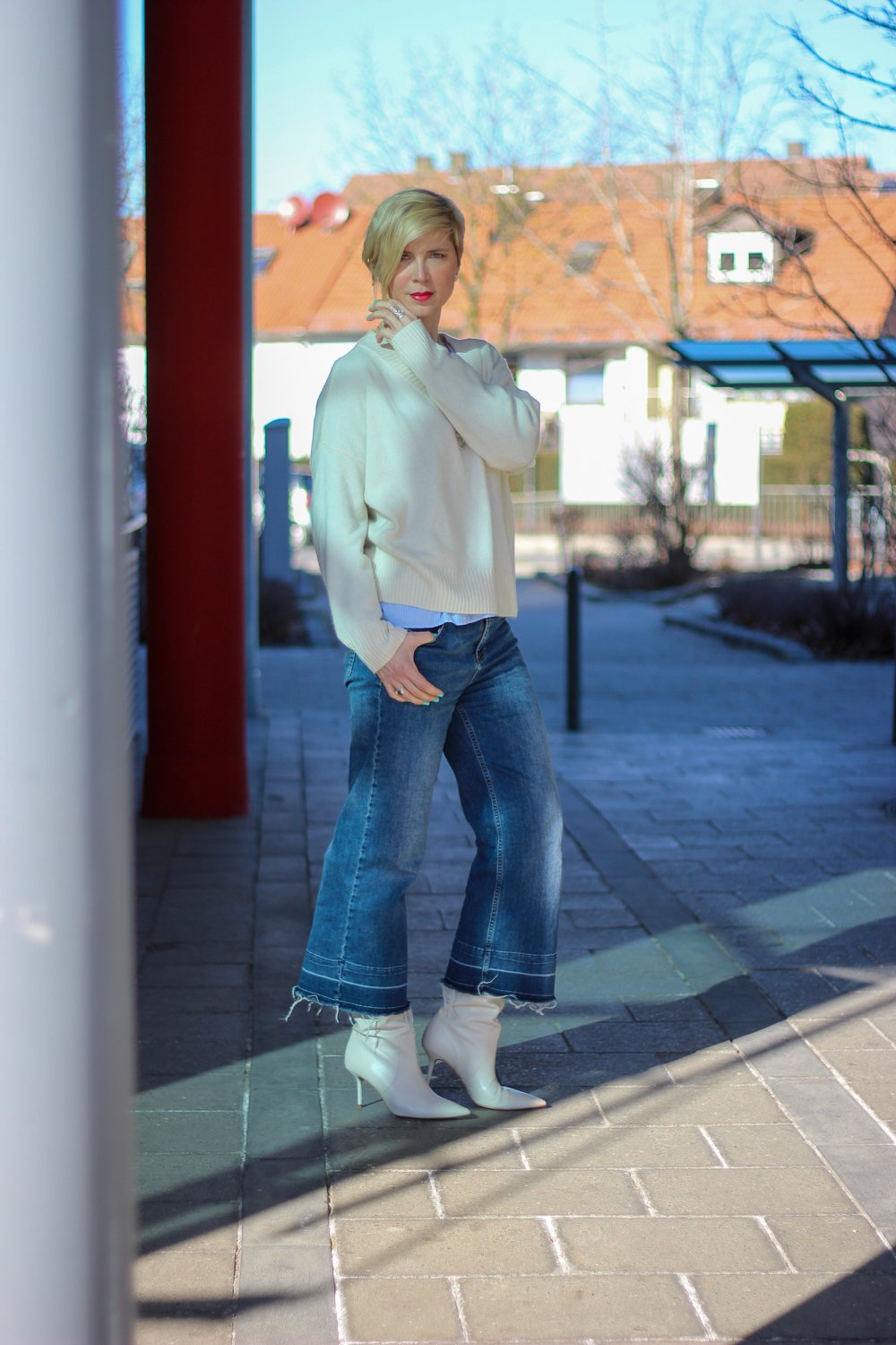 conny doll lifestyle: casual Styling, Culotte mit Stiefel, Valentinstag