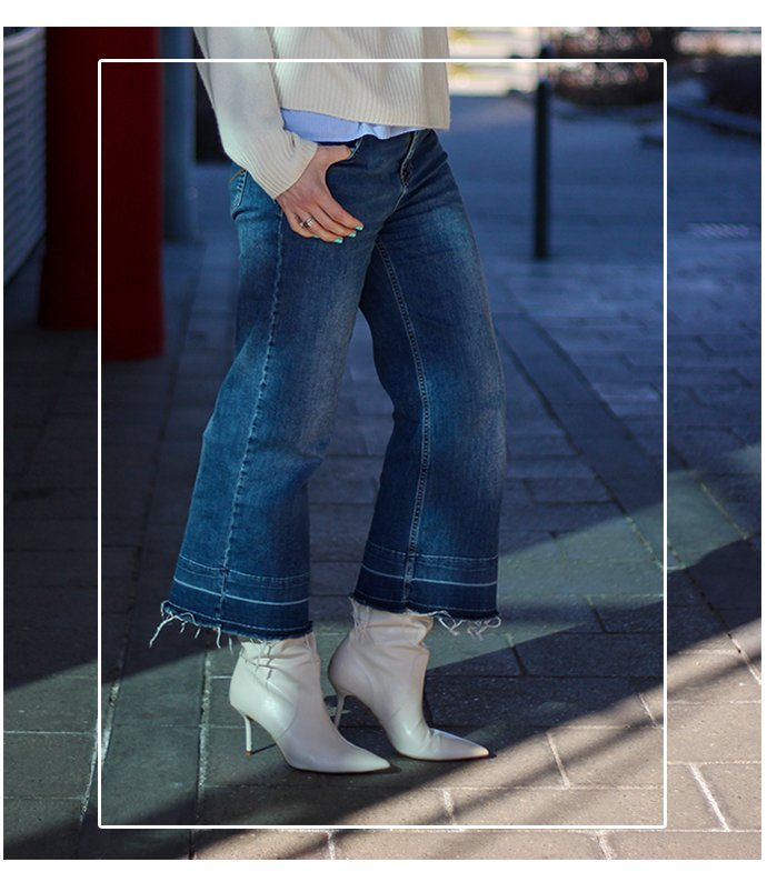 conny doll lifestyle: Denimculotte mit Stiefel, Kombination, casual Styling, Valentinstag ja oder nein