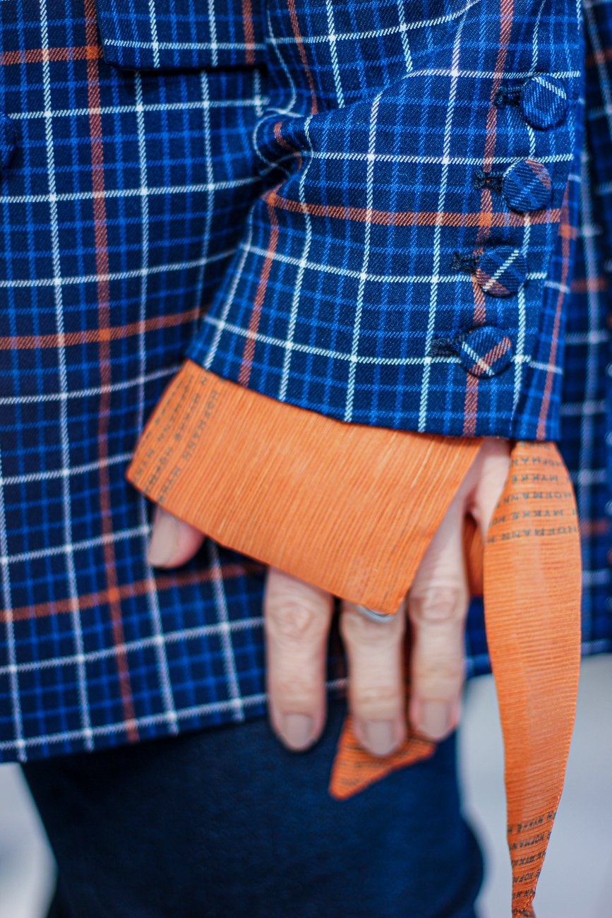 conny doll lifestyle: details, Bluse, Mykke Hofmann, Ärmel, Blazer, Blau, Orange