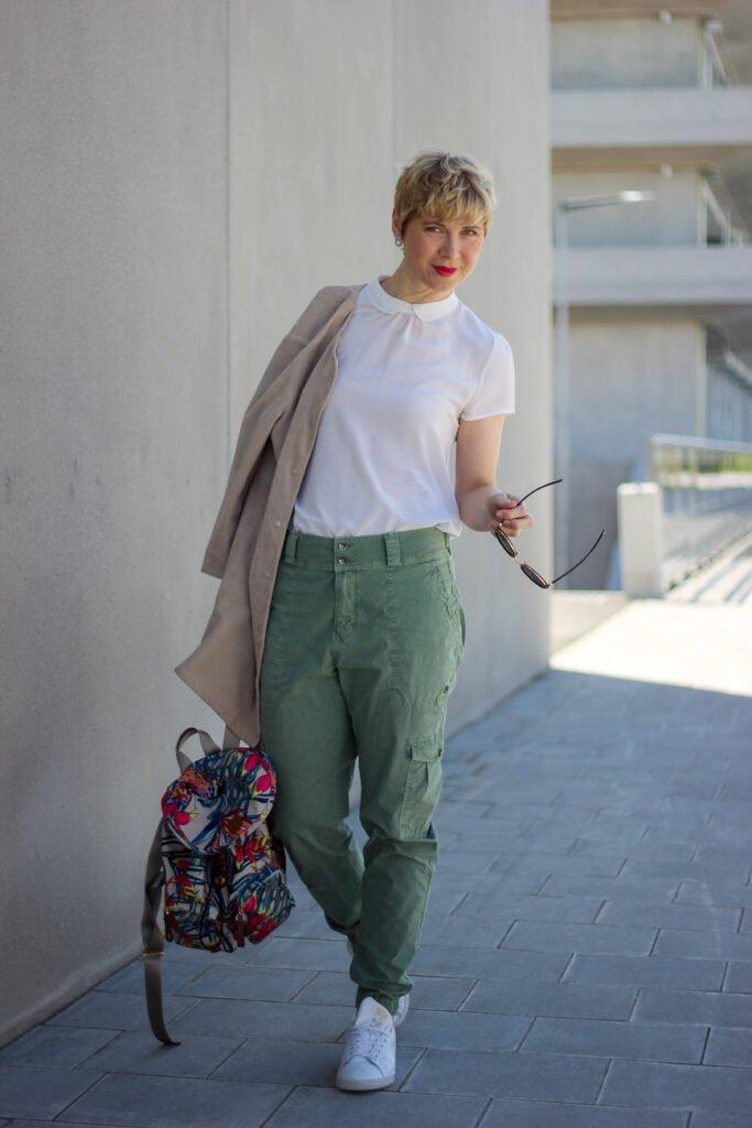 conny doll lifestyle: Sommerlook, Bubikragen, Lieblingsstück, Hallhuber, Fashionblog, Leichter Ledermantel,