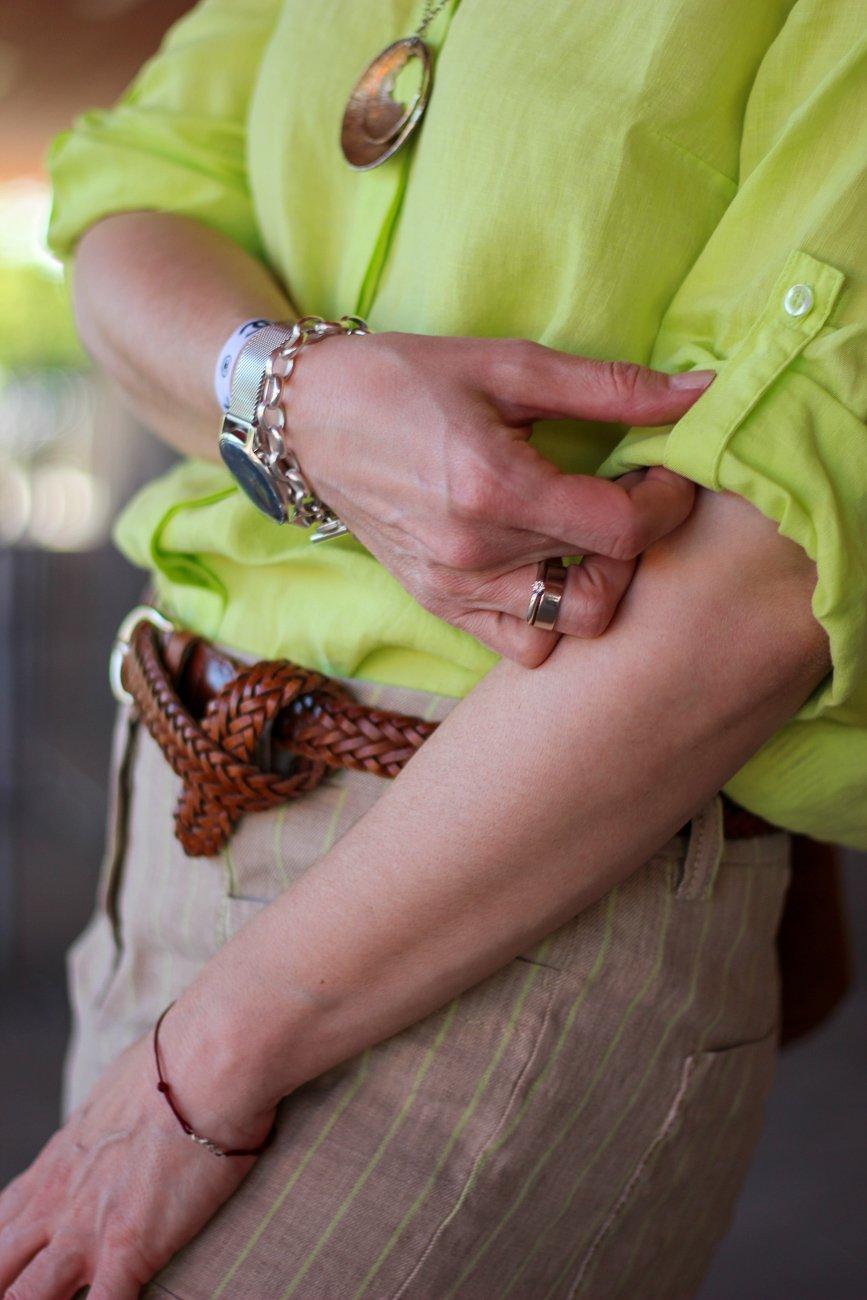 conny doll lifestyle: Sommerlook mit TONI-Fashion, Leinenhose, Streifen, Leinenbluse, Mein Appell fürs Online-Shopping