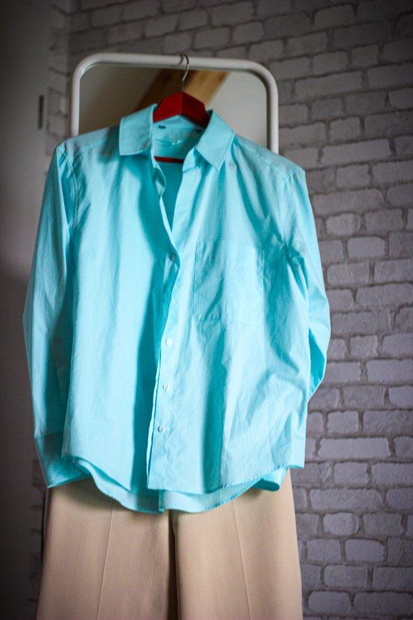 conny doll lifestyle: Stylingidee, beige Hose, türkises Hemd