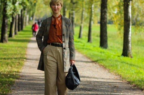 conny doll lifestyle: Herbstliches Outfit: Weite Hose mit Schlag mit Schluppenbluse kombiniert