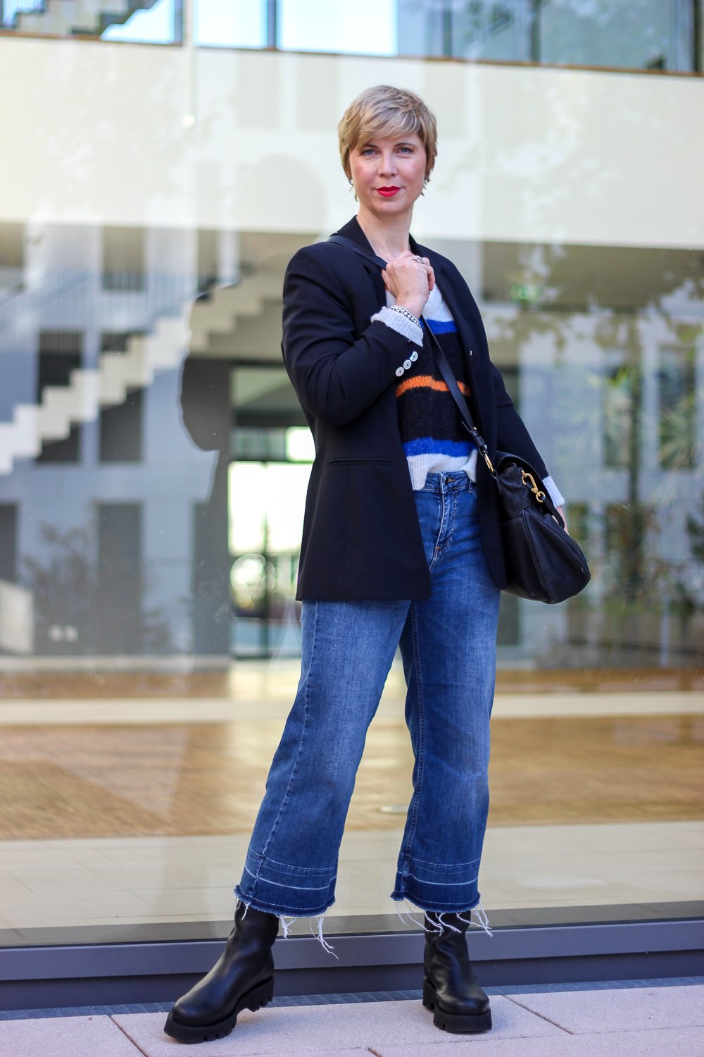 conny doll lifestyle: Jeans-Culotte, Styling mit Boots, Herbstoutfit, Chunky-Boots