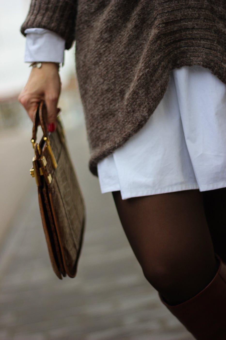 conny doll lifestyle: Tasche, Details, weißes Kleid, Strickpullover