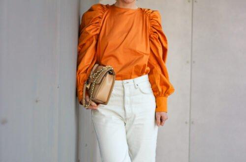 conny doll lifestyle: Statementärmel, Keulenärmel, orange, Bluse, reduzierter Frühlingslook