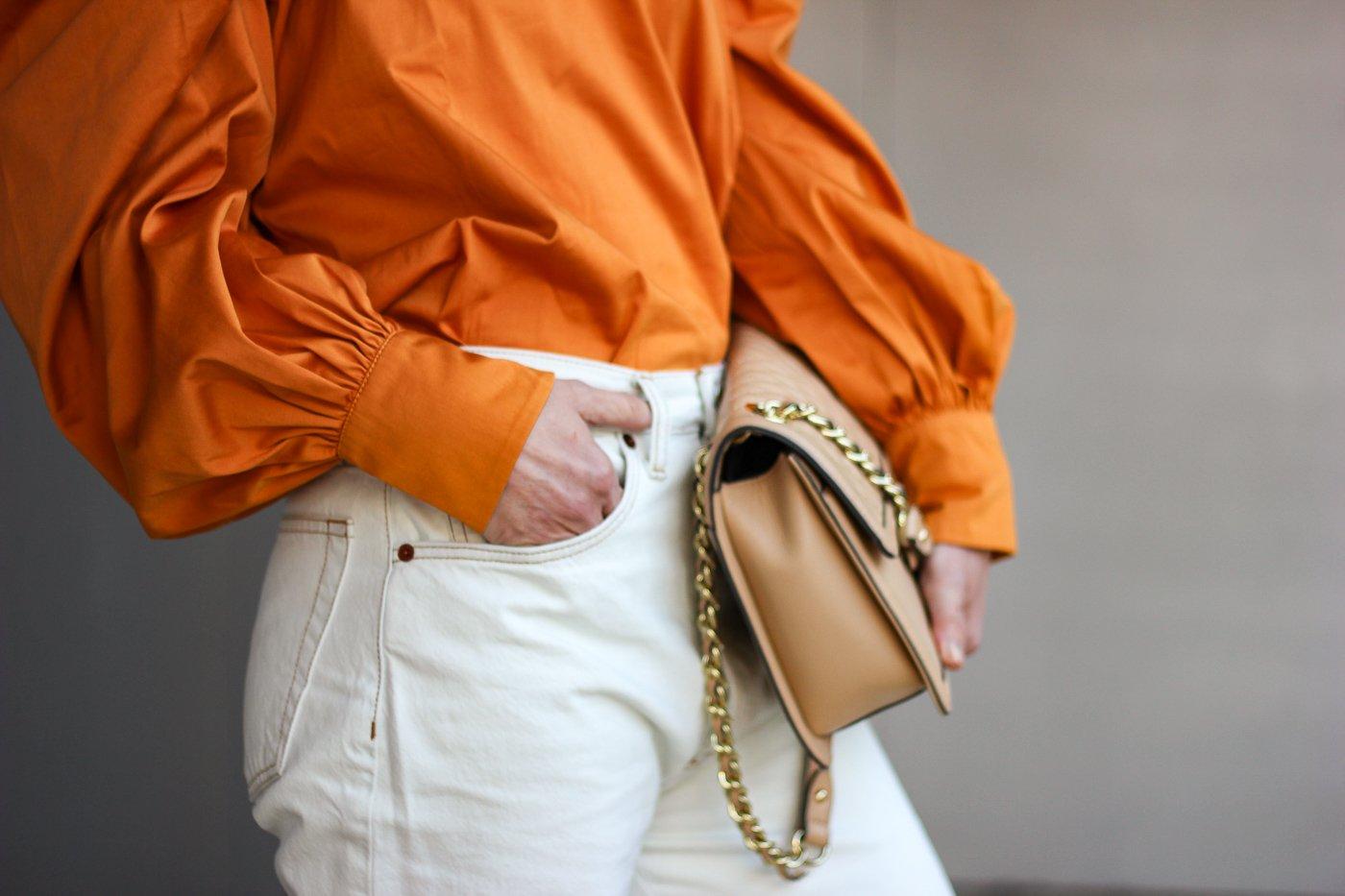 conny doll lifestyle: Bluse, Details, orange, nude, Denim